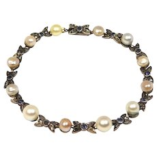 Victorian 9ct And Silver Rose Cut Diamonds Sapphires And Pearls Bracelet
