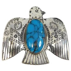 Turquoise Silver Thunderbird Brooch Pacific Jewelry Company
