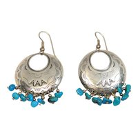 Relios Southwest Sterling Turquoise Stampwork Drop Earrings