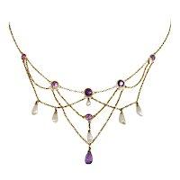 14k Art Nouveau Amethyst & Pearl Lavalier Necklace Stunning