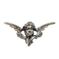 Art Nouveau Kerr Winged Cherub Watch Locket Brooch Sterling