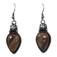 Sterling Carolyn Pollack Southwest Agate Earrings