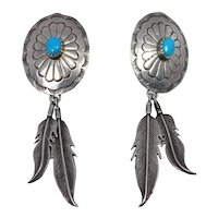 Designer Sterling Turquoise Southwest Concho Feather Earrings