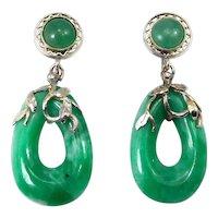 Jade Earrings 14k White Gold Filigree Dangles