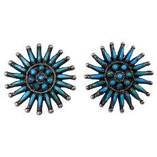 Earrings Petit Point Zuni Turquoise Silver Southwest