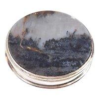 Art Deco Agate Compact Mirrored Silver Box Rare