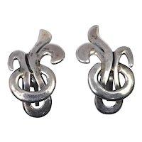 Beto Taxco Sterling Silver Earrings Screwback
