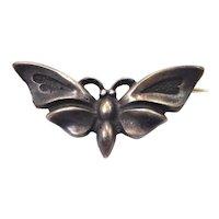 Antique 900 Silver Moth Butterfly Brooch