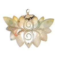Antique Carved Natural Jade Lotus Pendant Silver Gilt