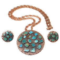 Vintage Bell Trading Company Copper Inlaid Turquoise Necklace Earring Set