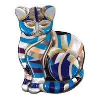 Incredible Sterling Turquoise Shell Sugilite Lapis Inlay Cat Brooch
