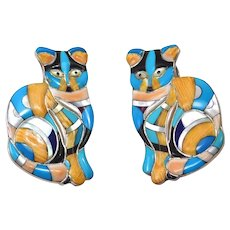 Incredible Sterling Inlay Turquoise Lapis Sugilite Cat Earrings