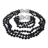 Designer Sterling 925 Onyx And Cz Bracelet And Necklace Set