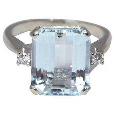 14k Large Aquamarine & Diamond Ring Retro Gorgeous