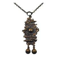 Modernist Bronze P. Sarpaneva Pendant Necklace Finnish