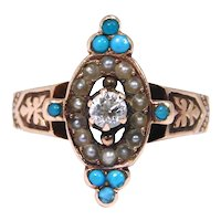 Victorian 14k Rose Gold Turquoise Diamond Seed Pearls Ring