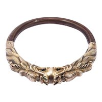 Old Chinese Rattan Silver Dragon Repousse Bangle