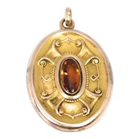 Art Nouveau Gold Filled Locket With Amber Stone