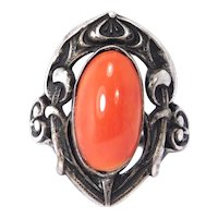 Art Nouveau Coral Sterling Floral Ring Beautiful