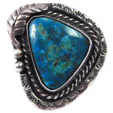 Beautiful Turquoise Stamped Ring Navajo Sterling