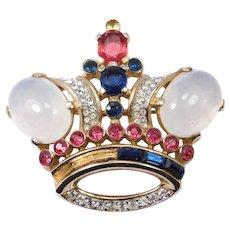 Large Trifari Jelly Belly Crown Brooch Vintage