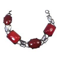 Art Deco Bracelet Sterling Silver Carnelian