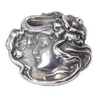 Original Art Nouveau Lady Sterling Silver Repousse Brooch