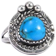 Hand Stamped Sterling Silver Southwest Turquoise Ring