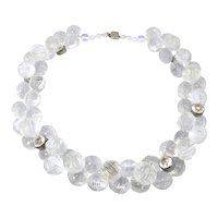 Super Necklace Art Deco Crystal Japan Rhodium Clasp