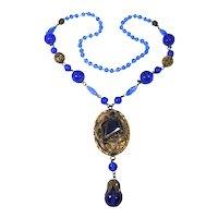 Art Nouveau Czech Glass Snake Necklace Blue Filigree