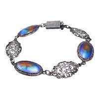 Arts & Crafts Era Bracelet Peacock Enamel Sterling Silver Sunshine