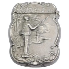 Rare Antique Silver Fishing Scene Vesta Matchsafe