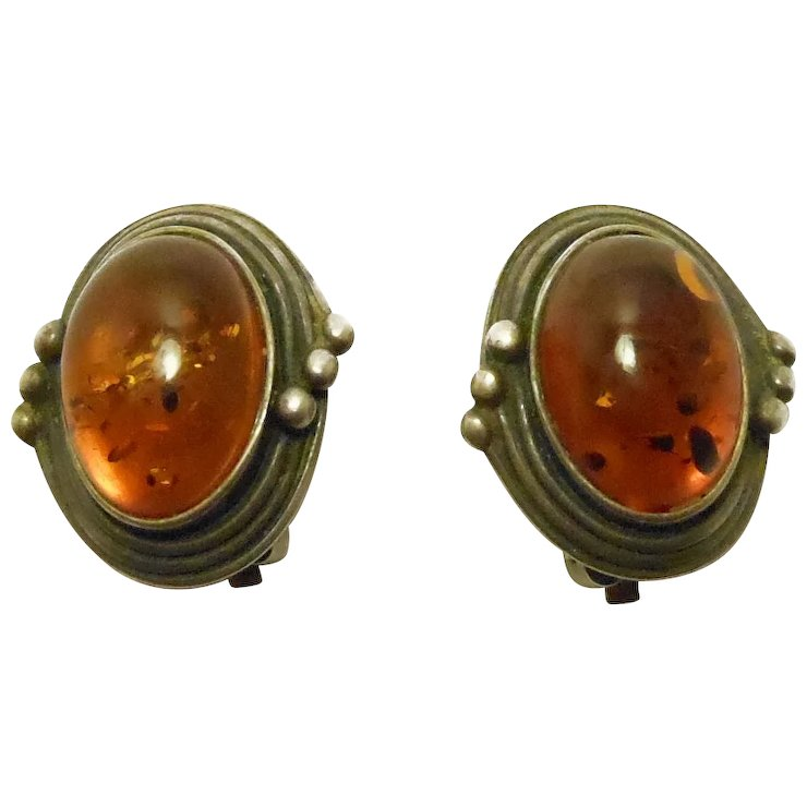 Vintage Silver Amber Cabochon Clip Earrings