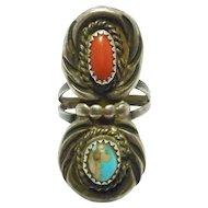 Navajo Turquoise & Coral Ring Vintage