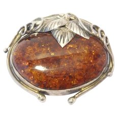 Beautiful Large Silver & Amber Brooch