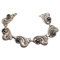 Sterling Taxco Signed Repousse Silver Onyx Bracelet