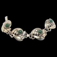 Vintage Sterling Jade Cabochon Floral Bracelet