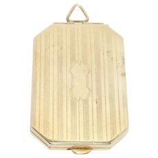 Art Deco Engraved Gold Filled Locket Pendant