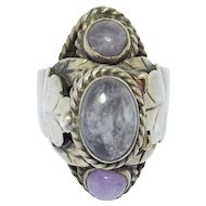 Vintage Mexican Cabochon Amethysts Silver Poison Ring