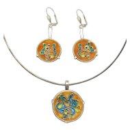 Modernist Mid Century Enamel Silver Pendant & Earrings