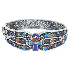 Egyptian Scarab Ankh Silver Filigree Coral & Lapis Bracelet