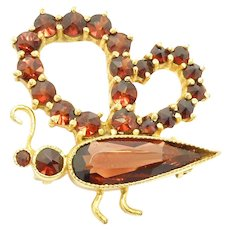 Vermeil Rose Cut Garnets Butterfly Pin Germany