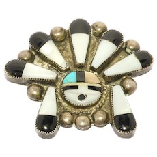 Zuni Inlay Sterling Sunface Brooch Vintage