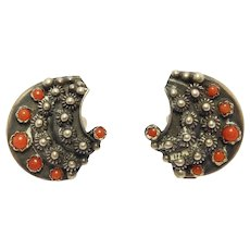 Etruscan 800 Silver Italian Natural Coral Clip Earrings