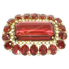 Striking Large Ruby Red Old Czechoslovakia Brooch