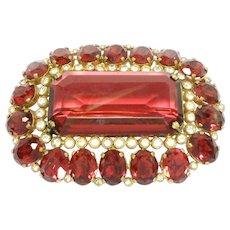 Striking Large Ruby Red Old Czechoslovakia Brooch