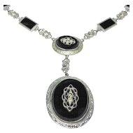 Art Deco Enamel Marcasite Ornate Necklace