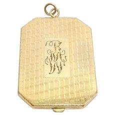 Oversize Deco Engraved Gold Filled Locket