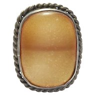 Art Deco Baltic Amber & Silver Ring Lovely