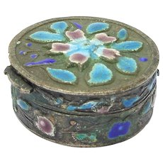 Antique Chinese Cloisonne Pill Box Silver Over Copper